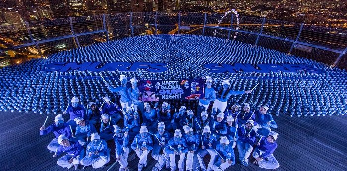 Sony Pictures celebrates Global Smurfs Night in Singapore at Marina Bay Sands on June 15, 2016 in Singapore. Smurfs: The Lost Village in theaters 2017.