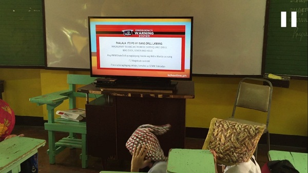 The EWBS warning message that flashed on Knowledge Channel during the metro-wide earthquake drill