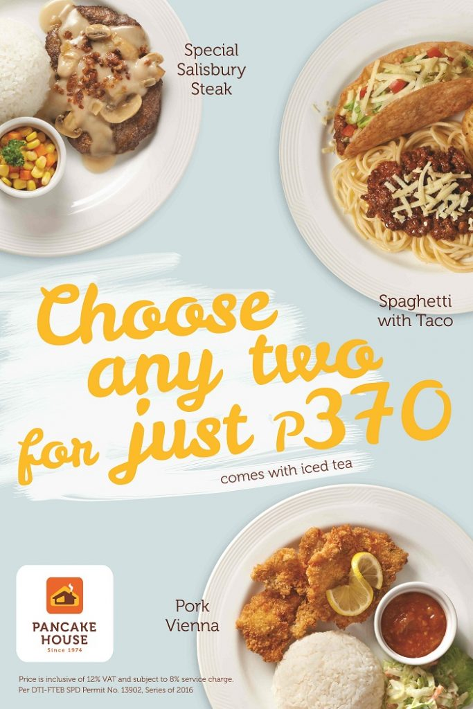 Back by popular demand pancake house lets you choose any two for choose any two of your favorite meals or even two of the same kind from the juicy salisbury steak smothered in rich gravy a hearty helping of spaghetti ccuart Gallery